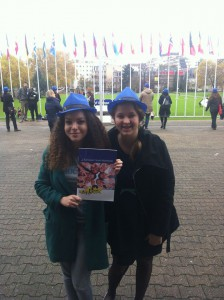 Clara and Sofia with the Youth Council Manifesto at the World Forum for Democracy, Spotlight Europe