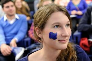 Girl with a European flag paint on her cheek, Spotlight Europe