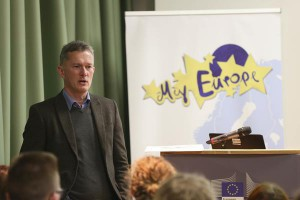 Dr. Murdock giving a speech in front of students in Dublin 2014, Spotlight Europe